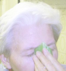 doing a quick, energizing face-wash with an aloe vera stem