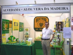 Peter Calhoune in his ALVEDAMA stand at an EXPO in Madeira