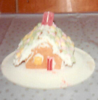 another gingerbread house made with graham wafers