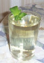 refreshing mint tea in a glass